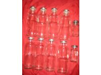 Eleven Glass Jars with Metal Screw on Lids
