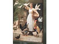 Edwardian print 'Farmyard scene '65x52cm