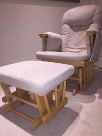 Nursing rocking chair and foot stool