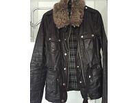 Top shop wax Jacket with detachable fur collar - size 10