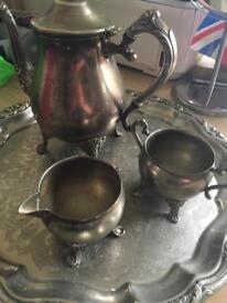Vintage silver plate tray / coffee tea pot / sugar bowl and milk jug