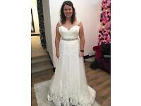 Beautiful lace illusion back wedding dress