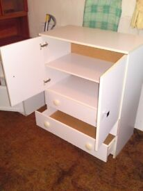 Useful White cupboard with two drawers
