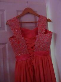 2 x coral/salmon bridesmaid dresses