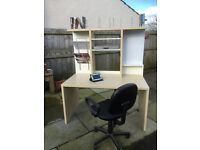 Ikea workstation desk with book and magazine shelving, and magnetic back board, good condition