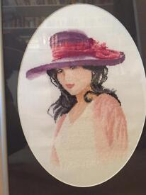 Beautiful Crossstitched picture with frame