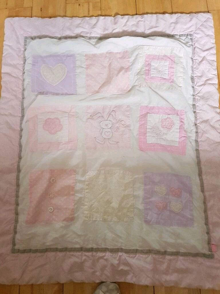 Pink girls cotbed throw/blanket