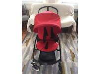 Bugaboo bee plus 2 button fold black frame with seat liner and footmuff