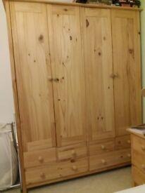 Wood Bedroom Furniture Set. 4door Wardrobe, chest of drawers, dressing tables, 2xbedside tables