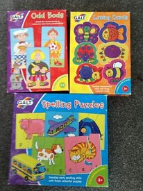 Galt spelling puzzles, lacing cards and Odd Bods game