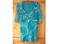 Monsoon open short sleeve, V-neck, green/turquoise/white pattern top with sash. Size 12. £5 ovno.