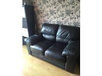 Black leather sofa excellent condition
