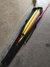 Slalom poles, 12. 1.7 m tall.