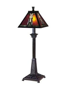 Dale Tiffany TB100715 Amber Monarch Buffet Lamp, Mica Bronze and Art Glass/Mica Shade