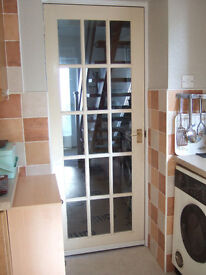 4 X 15 PANEL GLAZED INTERNAL WOOD DOORS COMPLETE WITH HANDLES AND HINGES