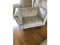 Large 3 seater sofa and cuddle sofa for sale along with large foot stool