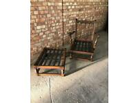 Ercol Old Colonial Yorkshire Tall Back Easy Chair and Footstool 1950s Vintage