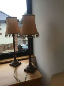 Pair lamps including shades