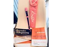 Girls Recorder, case & 2 beginners books