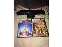 Xbox 360 Kinect and 2 games, Disneyland adventures and Kinect adventures.