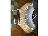 Wicker Clair de Lune Noah Pod rocking moses basket and stand