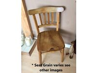 Vintage/Antique Station-School-Occasional Chair, lath back, English Elm seat