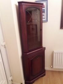 Cherry wood corner display cabinet with light