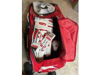 Free to a good home - Cricket pads, gloves and cricket box in a bag
