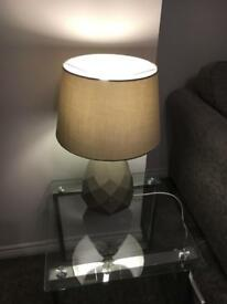 2x GREY LAMP AND SHADE