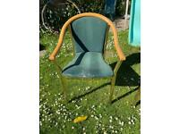 Chairs steel frame with green upholstery