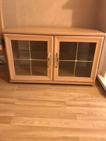 Wood tv cabinet with quad glazed doors