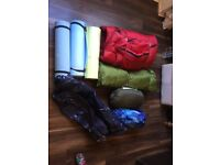 Sleeping bag bundle 4x bags 3xmatts and 1x single air bed