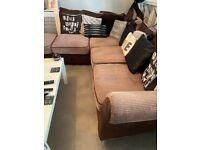 Brown Cord Jumbo Corner Sofa with Footstool