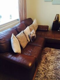 Leather sofa with chase & 2 seater
