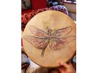 Handmade and hand painted Dragonfly Bodhran Drum