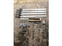 Large heavy duty adjustable gate hook and band hinges and accessories