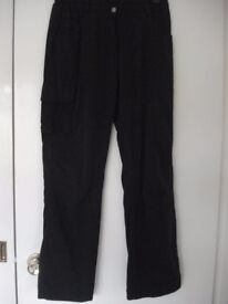 LADIES BLACK LINED WINTER WALKING TROUSERS SIZE 12