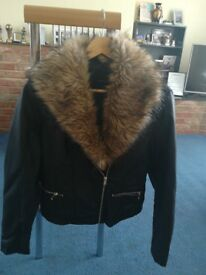 Black jacket with detachable fur collar