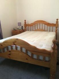 Double Bed wooden frame and mattress