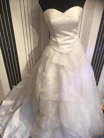 Wedding Dress with train 2 parts size 12 white rose