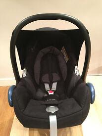 Maxi-Cosi CabrioFix Group 0+ Baby Car Seat, Black Raven + rain cover