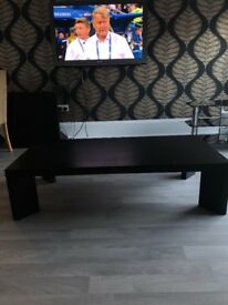 Black wood coffee table with 2 matching side tables