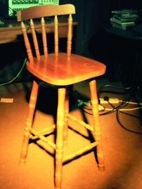 TALL BAR STOOL, BREAFAST BAR STOOL WITH BACK, PINE COLOUR