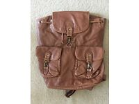 New Look Brown Leather Style Rucksack