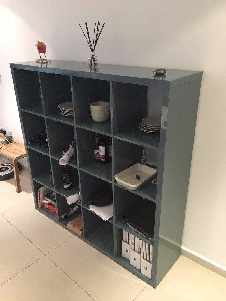 Kallax Shelving Unit From Ikea High Gloss Grey Turquoise