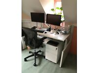 Herman Miller Sit/stand desk with Aeron chair