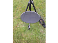 Satellite Dish Quad LNB with twin cable, Tripod, SAT Finder,,,, IDEAL FOR CAMPING OR CARAVANNING
