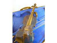 Ashton AV122BBS 3/4 Size Blue Violin in Case with Bow VGC (WH_2796)