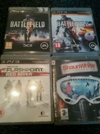 ps3 games bundle battlefield 3 &4/operation flashpoint red river/snowboarding