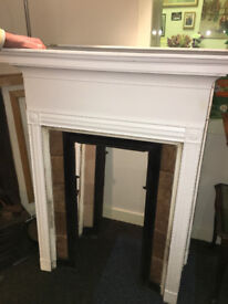 Lovely Pair of Antique Victorian Cast Iron Tiled Fire Surrounds